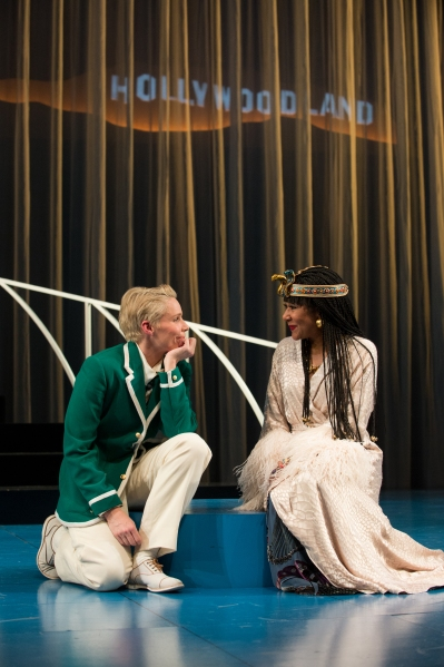 "Olivia (Gina Daniels) attempts to win the heart of ""Cesario"" (Sara Bruner) with her movie star charms. Photo by Jenny Graham,"
