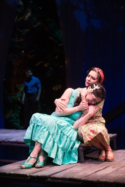 OSF - Helena (Nancy Rodriguez) seeks comfort from her mother (Vilma Silva) as Duarte (Carlo Albán), the man she thought would be her husband, prepares to marry her sister. Photo by Jenny Graham,